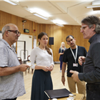 Peter Polycarpou, Karoline Gable, Nabil Elouahabi and Bartlett Sher in Oslo rehearsals. Photo by Brinkhoff & Mogenberg