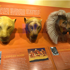 Lioness and Simba masks from The Lion King displayed at the Disney in the West End Summer Pop-up