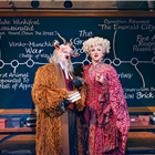 Simeon Truby (Dillamond) and Kim Ismay (Morrible) in Wicked at the Apollo Victoria Theatre - photo credit Matt Crockett