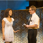 Alexia Khadime (Nabalungi) and Brian Sears (Elder Cunningham) in The Book Of Mormon at London's Prince Of Wales Theatre