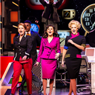 Caroline Sheen, Amber Davies and Natalie McQueen in 9 to 5 at the Savoy Theatre. Photography credit: Pamela Raith